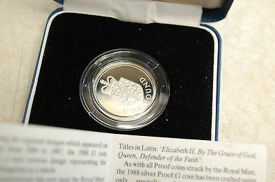 1988 UK Royal Mint Silver Proof £1 One Pound coin cased + COA  .925 blue box