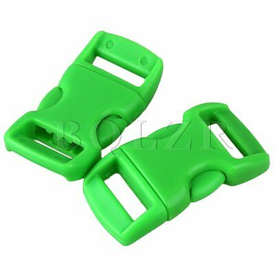 20pcs Contoured Side Quick Release Plastic Green Buckles Paracord for 1cm Belt