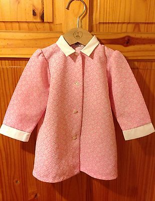 Young Girls Vintage Crimplene Dress~Handmade 1970s 60s Pink 1-2 Years 12-18 M