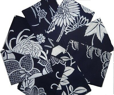 Japanese YUKATA INDIGO w/WHITE FLOWERS 8Pcs 4Yds Vintage Cotton Kimono Fabric B