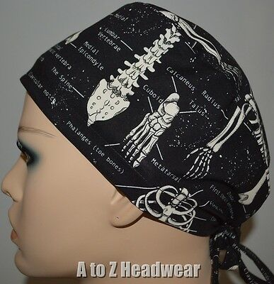 Glow in the Dark Skeletal System TRADITIONAL Tie Back Surgical Scrub Cap Hat