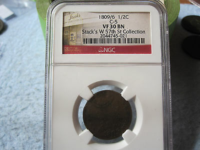 1809/6 Classic Head Half Cent NGC VF30 (9 Over Inverted 9 1/2 C Nine Over) RARE