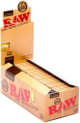Full Box 24x Packs ( RAW Classic 1.5 1 1/2 ) Cigarette Rolling Paper Papers RYO