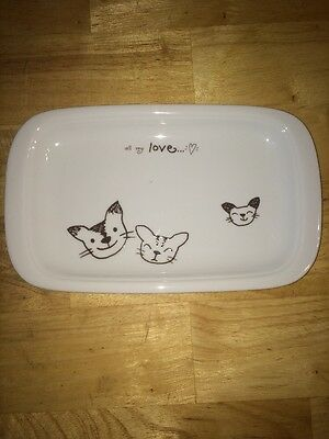 """All My Love"" Cats Platter Catchall Serving Made in Japan 9.5"" X 6"""