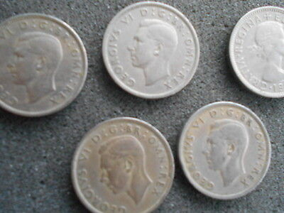 Vintage Great Britain Coin Lot! 5 Two Shilling  1948 1949 1950 1950  1958 LQQK!