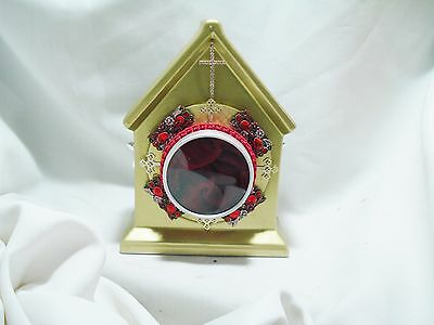 Stunning 18 Kt Gold Painted Double Sided Reliquary Church Shape