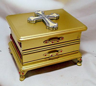 18 Kt Gold Painted 2 Compartment Reliquary Display Box