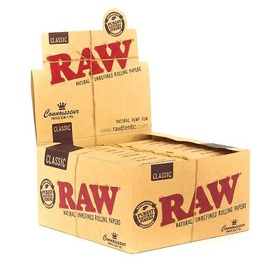 3x Packs ( RAW Classic Connoisseur King Size Slim ) Rolling Paper Papers + Tips