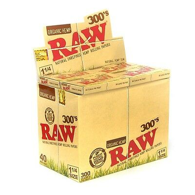 1x Pack ( RAW Organic Hemp 300s 300 300's 1.25 1 1/4 ) Rolling Paper Papers