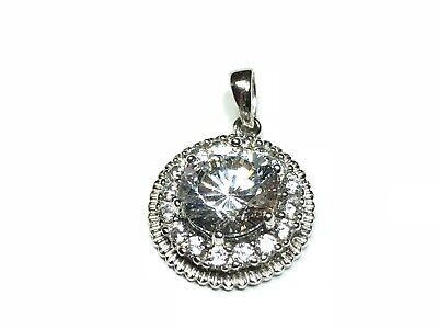 """Dazzling Round .925 Sterling Silver Nedklace Pendant - Signed """"PAJ"""" - MUST SEE!"""