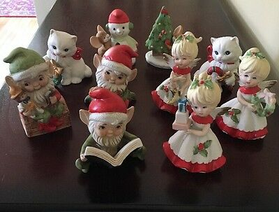 Vintage Homco Christmas Elves, Angels, Cats And Mice 10 Piece Set! Exc. Cond.