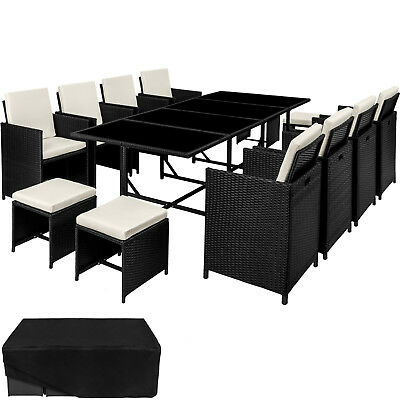 Poly Rattan Garden Furniture Set Dining Wicker 12 Seater Chair Stool Table black
