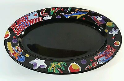 "Planet Hollywood Black Oval Serving Platter Dish Plate 13.75""x9"""