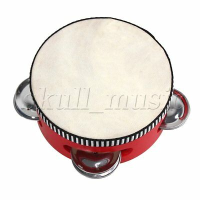"4"" Traditional Wooden Natural Skinned Tambourine Musical Toy Instrument For Kids"
