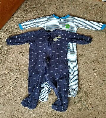 Lot Of 2 Baby Boys Carter's Footsie Pajama Sleepers - Size 6 Months
