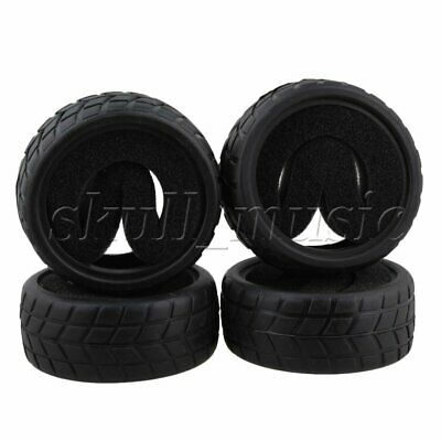4pcs 65mm OD Black RC 1:10 Chequered Pattern Rubber Tyre On Road Racing Car Tire