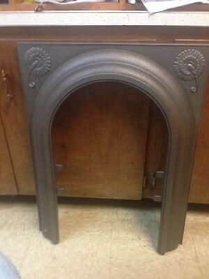 Antique Late 1800's Cast Iron Arched Fireplace Surround Matched Pair
