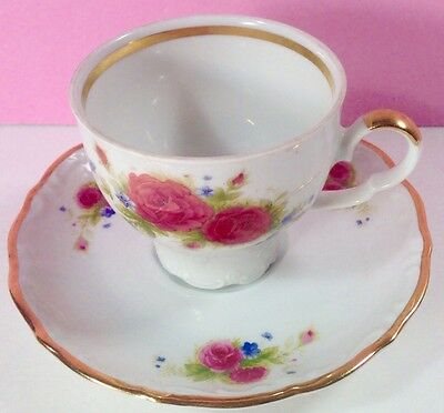 MITTERTEICH BAVARIA Footed CUP and SAUCER Floral Pink Roses Trimmed in GOLD