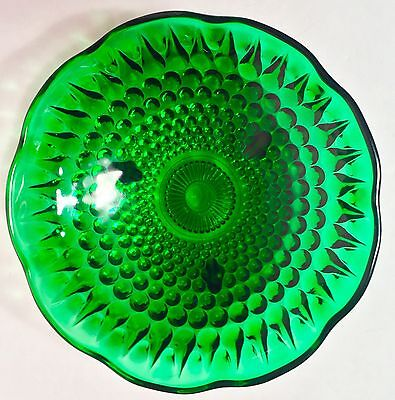 Vintage ANCHOR HOCKING Forest GREEN TEARDROP HOBNAIL 3-Footed CANDY DISH BOWL