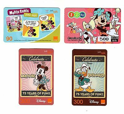 Rare Disney Used Telephone Cards From Thailand!  4 Different!
