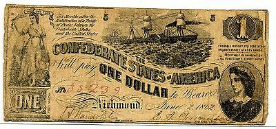 Confederate Currency $1 Note Richmond June 2, 1862  Number 35239?