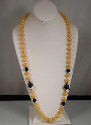 Chinese Peking Glass Bead Necklace w/ Gold & Black Lacquer Beads