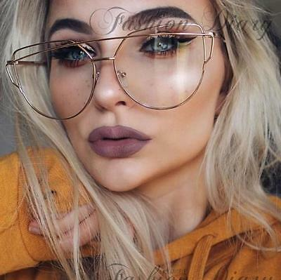 Clear Lens Oversized Aviators Hot Fashion Trendy Glasses Metal Bar Gold Frame Bn