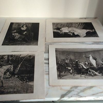 Collection Of Six Vintage etched prints Multiple subjects Portraits