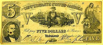 Confederate Currency $5 Note September 2,1861 Number 39659