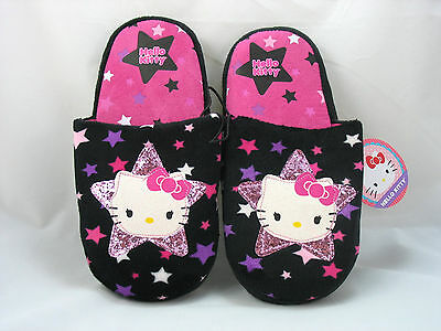 a0b8be6a7 Girls New Slippers Hello Kitty Size 11/12 XS Scuffs Sanrio Black Slip On