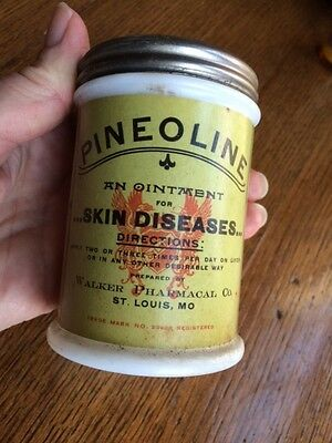 antique FULL Pineoline Ointment Bottle Glass Jar Walker Pharmacal Apothecary