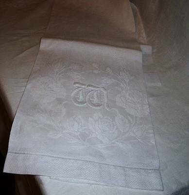 "Stunning LG Monogrammed Linen Damask Show~Wash Stand Towel~Roses~""aa"""
