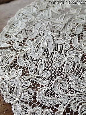 Lovely! Griffins & Birds Oval Antique French Alencon Lace Doily 9x8