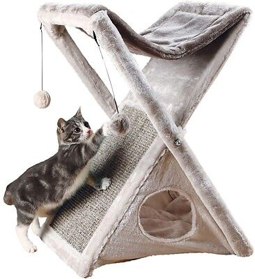 Cat Kitty Toy Tower Scratch Post Pet Furniture TRIXIE Gray Miguel Fold Store DIY