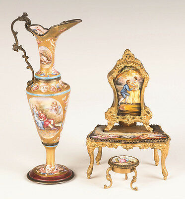 Viennese Enameled Ewer and Dressing Table with Music Box Lot 212