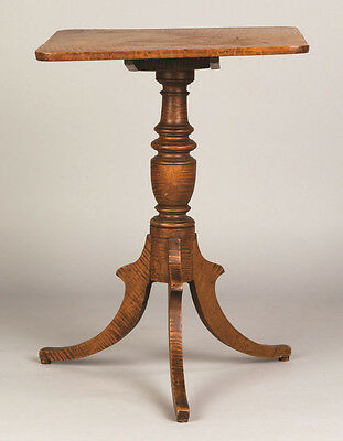 American Tiger Maple Tilt Top Candle Stand Lot 383