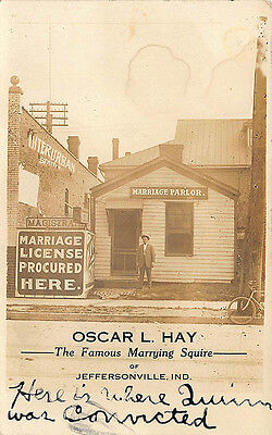 Jeffersonville IN Marriage Parlor Oscar Hay Marrying Squire RPPC Postcard