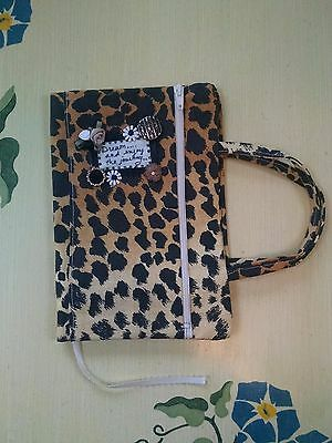 Tina Bobkers Artcessories Leopard Print Linen Decorated Book Journal Bible Cover