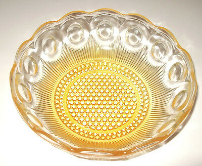 Vintage Yellow Depression Glass Bowl Citron Vaseline Art Glass Serving Bowl