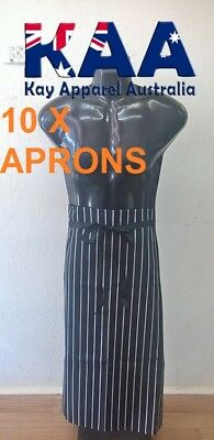 10 Butchers Aprons Bib Black White Vertical Pinstripe 105x80cm KINGAROY QLD