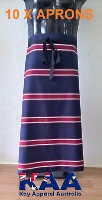 10 Butchers Aprons Waist/Lap Apron Navy/Red 85x80cm *MADE IN KINGAROY QLD*