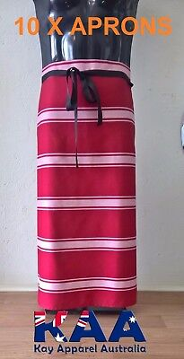 10 Butchers Aprons Waist/Lap Apron RED/WHITE 85x80cm *MADE IN KINGAROY QLD*