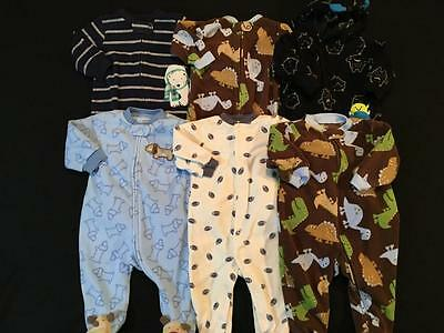 Boys Carters 6 And 9 Months Fleece Sleepers Pajamas Clothes Lot B27 Free Ship