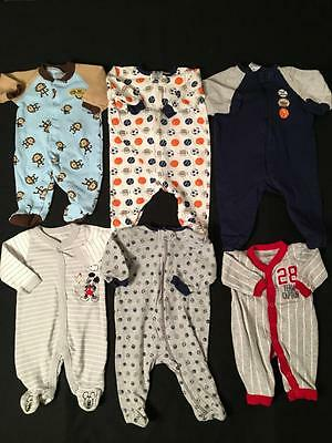 Baby Boy Newborn 0/3 Months Light Weight Footed Sleepers Pajama Clothes Lot B72