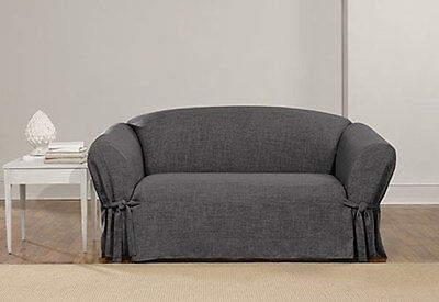 Sure Fit Loveseat Slipcover Everyday Chenille Collection One Piece in Gray