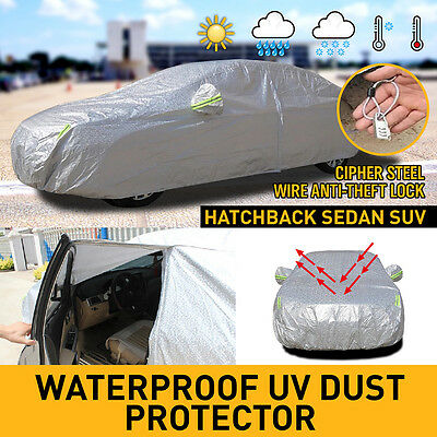 2x layers Double thick waterproof car cover rain resistant UV dust protection