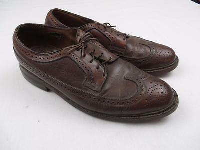 Highly Used Vintage Florsheim Imperial Mens Leather Wingtip Dress Shoes Sz 8.5 E