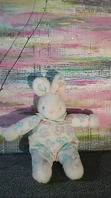 Vtg Carters White Bunny Bear Rattle Lovey Plush Blue Pink Green Stuffed Baby Toy