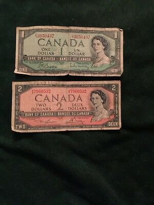 Lot of 2 1954 Canada Banknotes $1.00 and $2.00 dollars circulated.