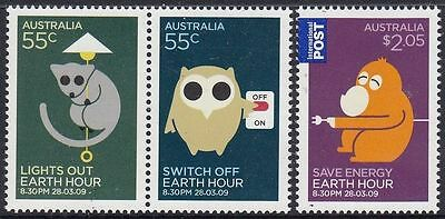 2009 Australian Decimal Stamps - Earth Hour -  Set of 3 - MNH